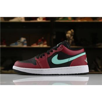 Men's and Women's Air Jordan 1 Low Black/Green Pulse-Gym Red-White 553558-036