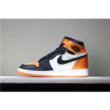 Men's and Women's Air Jordan 1 Satin Shattered Backboard Black/Starfish-Sail-Black AV3725-010