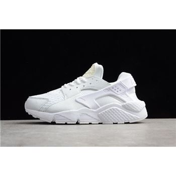 Men's and Women's Nike Air Huarache Run Big Net White Running Shoes 318429-111