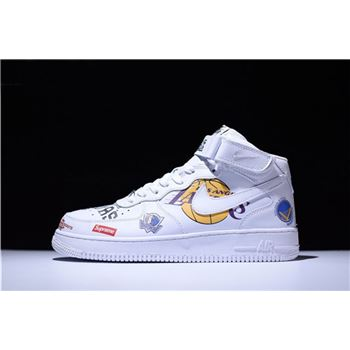 Supreme x NBA x Nike Air Force AF1 Mid White AQ8017-100