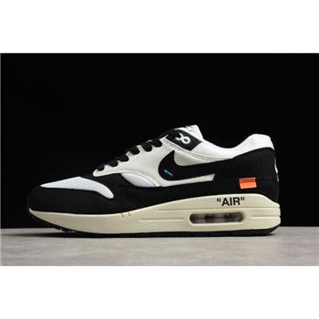 2018 Off-White x Nike Air Max 1 White Black Men's and Women's Size AJ9986-109 For Sale