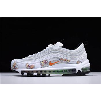 Women's Nike Air Max 97 Butterfly White/Orange Shoes Free Shipping