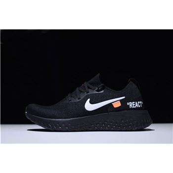 Mens and WMNS Off-White x Nike Epic React Flyknit Running Shoes Black AQ0070-010