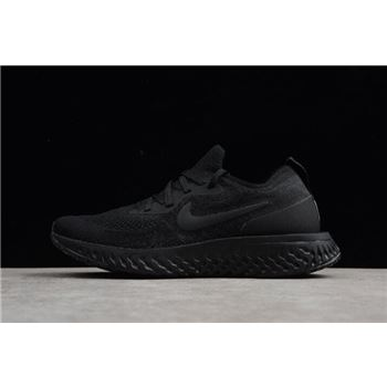 Men's and Women's Nike Epic React Flyknit Triple Black Running Shoes AQ0067-003