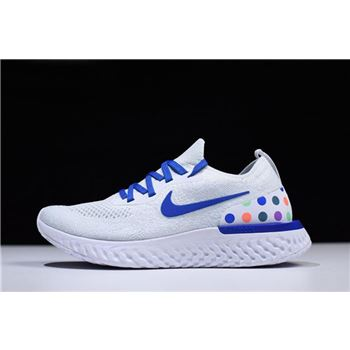 Nike Epic React Flyknit White Blue With Multicolor Dots Men's and Women's Size AJ0067-993