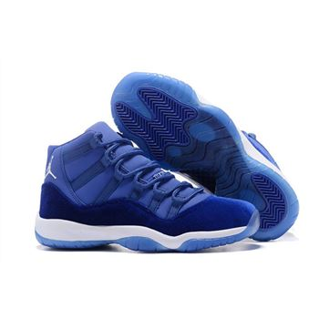 New Air Jordan 11 Velvet Heiress Blue White Basketball Shoes