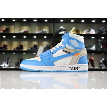 Off-White x Air Jordan 1 UNC White/Dark Powder Blue-Cone AQ0818-148