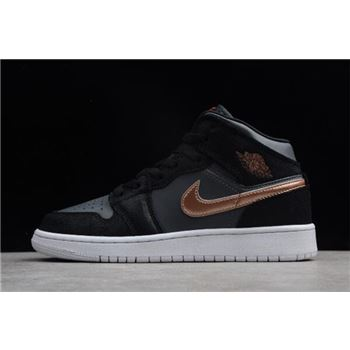 2018 Womens Air Jordan 1 Mid GS Black/Metallic Gold-White For Sale