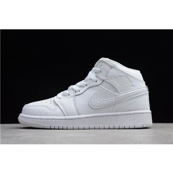 Women's Air Jordan 1 Mid GS White/Pure Platinum 554724-104
