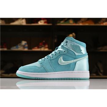 Women's Air Jordan 1 Retro High SOH Light Aqua/White-Metallic Gold AO1847-440