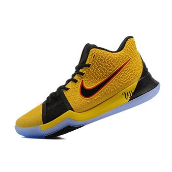 What The Nike Kyrie 3 Yellow and Black Men's Basketball Shoes