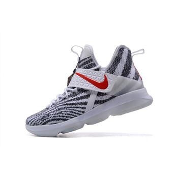 Nike LeBron 14 Zebra Stripes White/Black-University Red Free Shipping