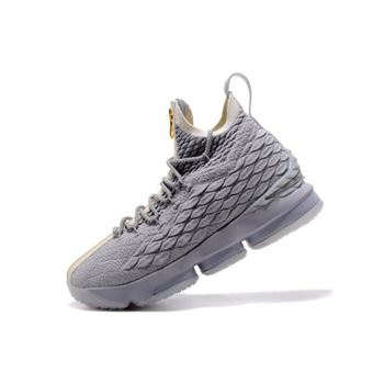 KITH x Nike LeBron 15 Wolf Grey/Gold Men's Basketball Shoes