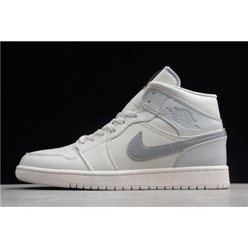 Air Jordan 1 Mid SE Light Bone/Grey Fog-Reflect Silver 852542-003