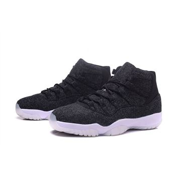 Men's and Women's Air Jordan 11 Wool Dark Grey/Metallic Silver-Black 378037-050