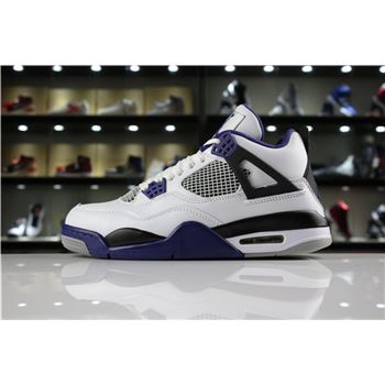 Mens Air Jordan 4 Retro Motorsport White/Game Royal-Black 308497-117