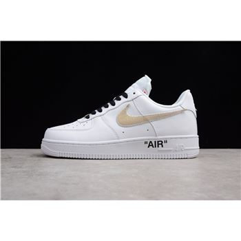 2018 OFF-WHITE x Nike Air Force 1 Low White Black Gold AA8152-700